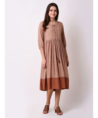 Brown Women's Embroidered Sundress