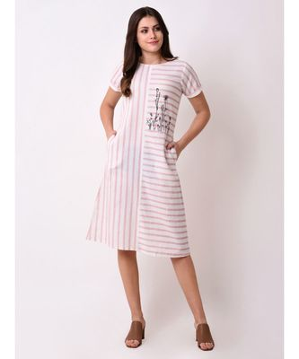 Pink Women's Striped Embroidered Dress