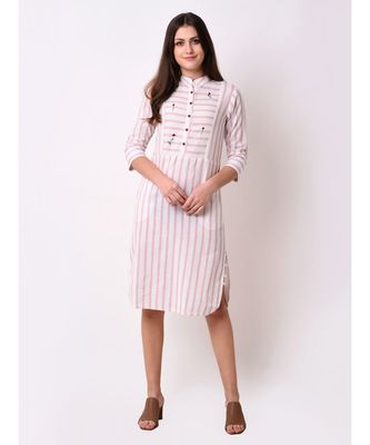 Pink Women's Button Down Ebroidered Dress