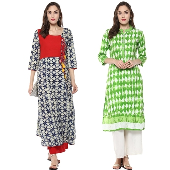 multicolour  rayon  blue and green combo kurti