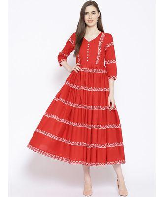 Red Line Print Maxi Dress