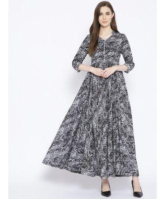 Black Jaal Print Maxi Dress
