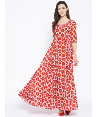 Red White Floral Print Maxi Dress