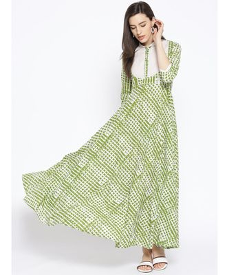 Green Printed White Collar Dress