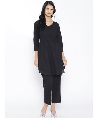 Black Cotton Kurta Pant