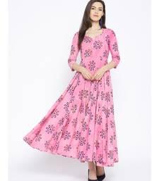 Pink Dabu Print Long Dress