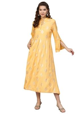 Yellow Rayon Flex Foil Print Dress