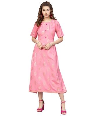 Pink Rayon Flex Foil Print Dress