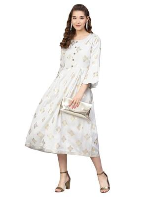 Grey Rayon Flex Foil Print Dress