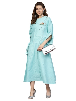 Blue Cotton Flex Embroidered Dress