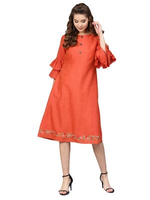 Orange Two Tone Handloom cotton Embroidered Dress