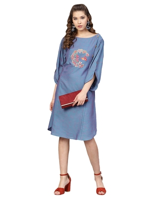 Blue Two Tone Handloom Cotton Embroidered Dress
