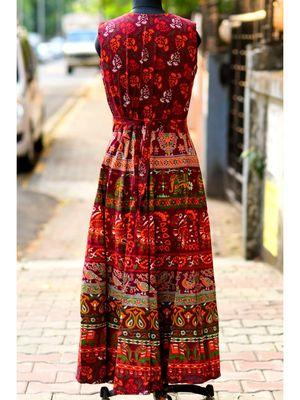 Wine Coloured Base Elephant And Flowers Printed designed Long Dress