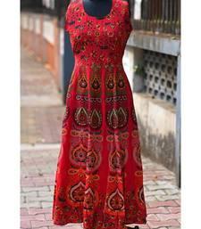 Red Coloured Rajasthani Printed Designer Long Dress