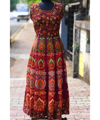 Dark Wine Coloured Rajasthani Printed Long Dress