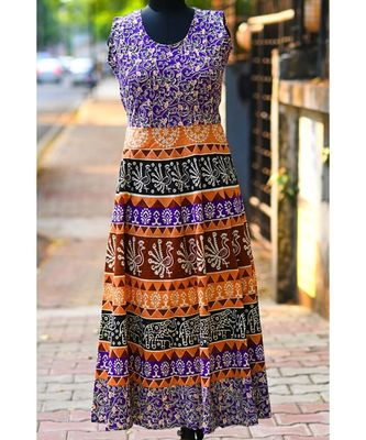 Multicoloured Animal Printed Rajasthani Designer Long Dress