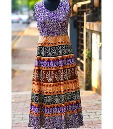 Multicoloured Animal Printed Rajasthani Designer Long Dress