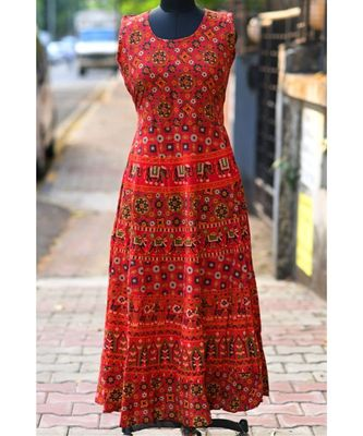 Red Coloured Based Animal Printed Designer Long Dress