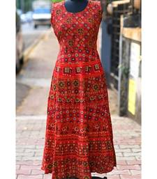 Red Coloured Based Animal Printed Designer Long Dress