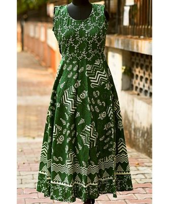 Green And White Coloured Rajasthani Printed Designer Long Dress