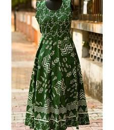 Green And White Coloured Rajasthani Printed Designer Long Dress