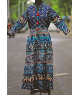 Navy Blue Colored Based Elephant Pattern Rajasthani Printed Long Frock/Tunic