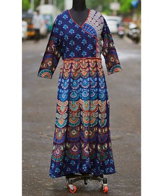 Navy Blue Colored Rajasthani Printed Long Dress Frock