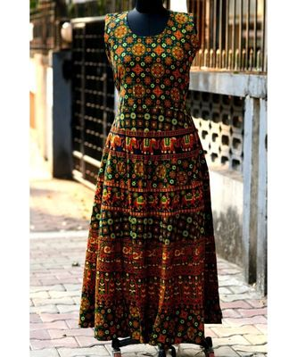 Multi-colored Animal Printed  Designer Long Dress
