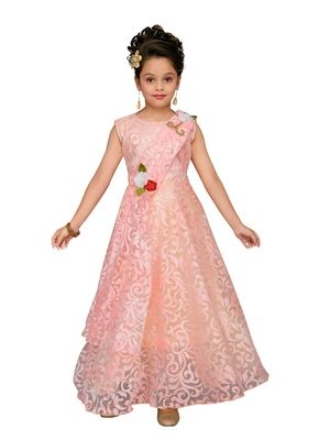Pink printed blended cotton kids-girl-gowns