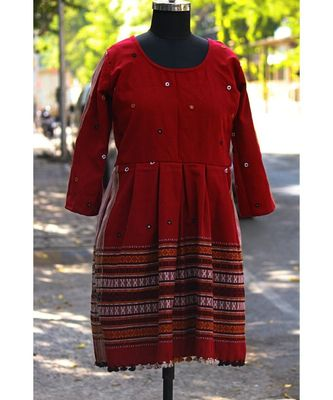 Red Colored Small Real Mirror Worked Designer Woolen Tunics With Tassels
