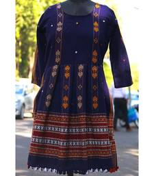 Blue Colored Small Real Mirror Worked Designer Woolen Tunics With Tassels