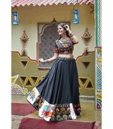 Black embroidered cotton unstitched lehenga choli
