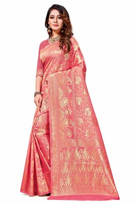 Light pink woven art silk saree with blouse