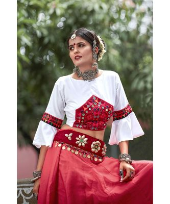 Red embroidered cotton unstitched lehenga choli