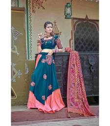 Blue embroidered cotton unstitched lehenga choli
