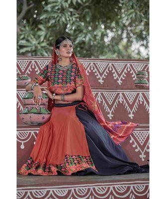 Orange embroidered cotton unstitched lehenga choli