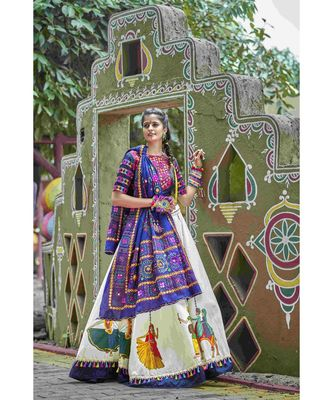 Blue embroidered cotton unstitched lehenga choli