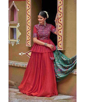 Maroon embroidered cotton unstitched lehenga choli