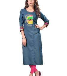 Multicolor printed cotton silk cotton-kurtis