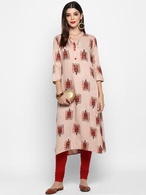 Peach hand woven rayon ethnic-kurtis