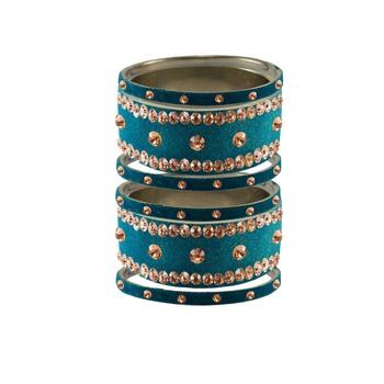 Firozi Stone Stud Brass Bangle