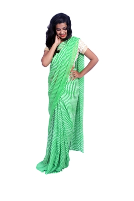 Parrot green printed georgette saree with blouse