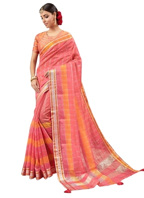 Peach Plain Art Silk Saree With Blouse