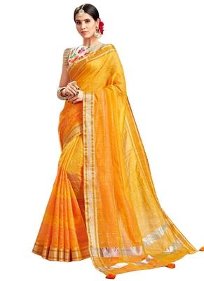 Yellow Plain Art Silk Saree With Blouse