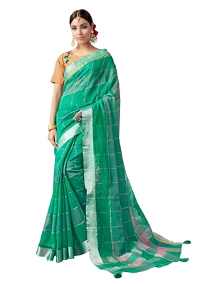 Green Plain Art Silk Saree With Blouse
