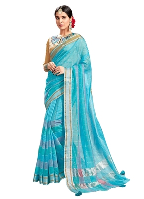 Blue plain art silk saree with blouse