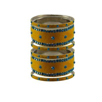 Light Brown  Stone Stud Brass Bangle