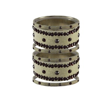 Cream Stone Stud Brass Bangle