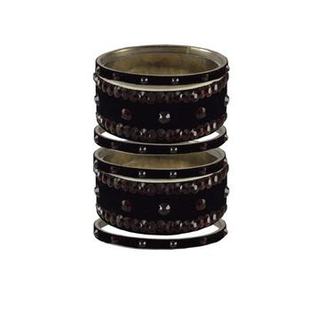 Black Stone Stud Brass Bangle