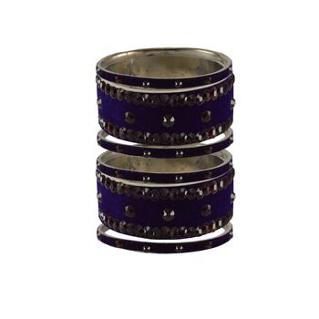 Dark Blue Stone Stud Brass Bangle